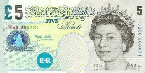 small 5 pound note